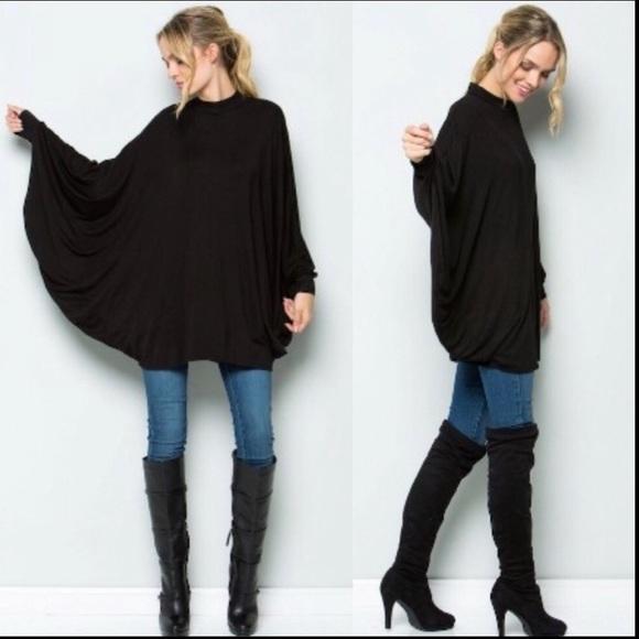 Oversized Style Tunic Top Bat Sleeves